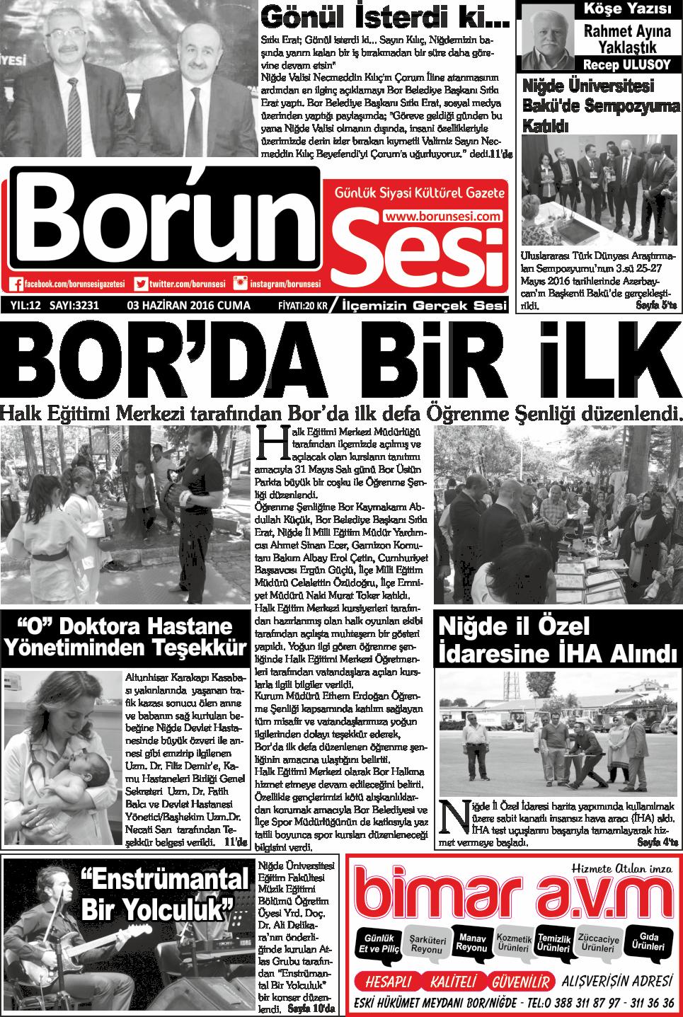 03 Haziran 2016 Cuma Gazete Manşetleri