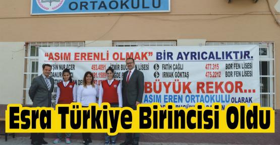 Bor'lu Esra Türkiye Birincisi Oldu