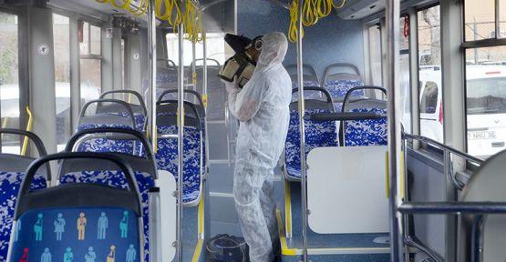 Halk Otobüsleri Dezenfekte Ediliyor