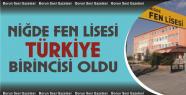 Niğde Fen Lisesi Türkiye'de birinci!